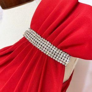 Cache Dresses - CACHE dress bold sexy red slinky rhinestone M